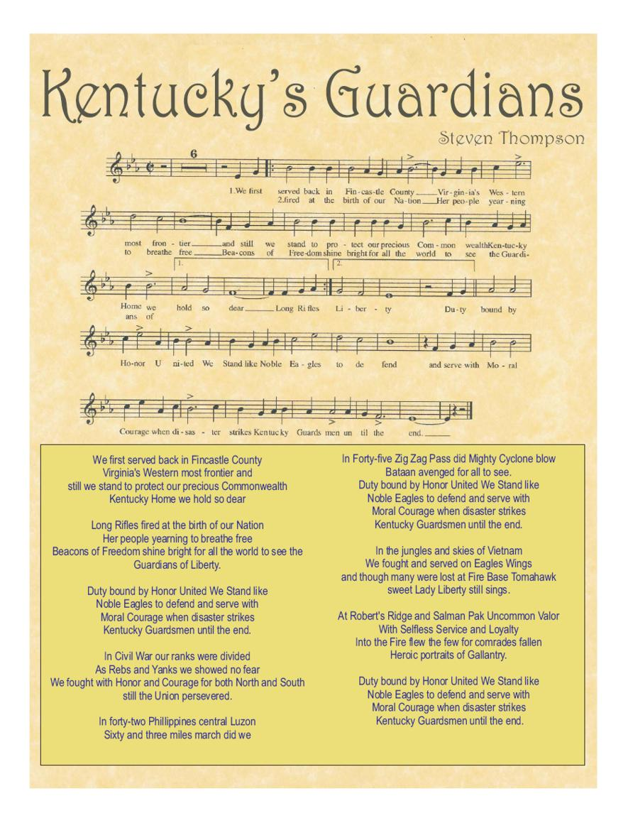 Image of sheet music to song Kentucky Guardians