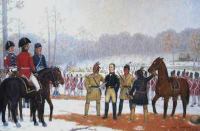 Painting by Hal Sherman of Englewood, Ohio depicting Winchester's surrender of the Kentucky Troops at River Raisin. The painting depicts Wyandot Chief Roundhead presenting General Winchester to Proctor.