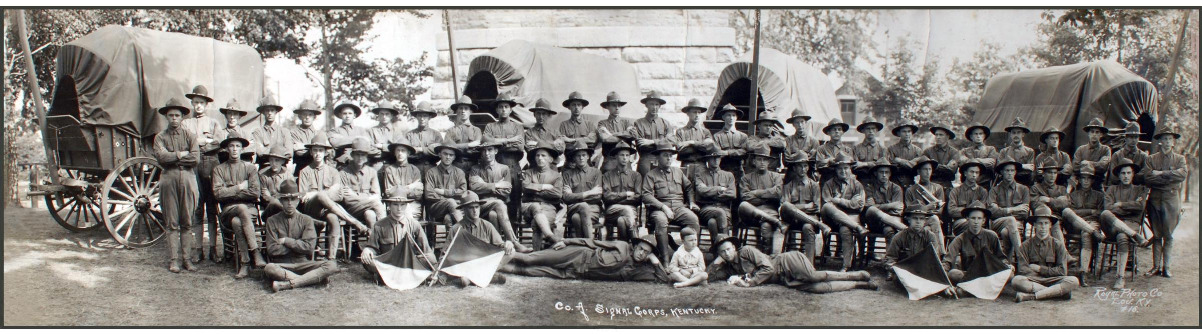 Company A Signal Corps Kentucky National Guard. In front of the Water Tower at Fort Thomas Ky circa 1916. Courtesy LTC Robert P. Watson