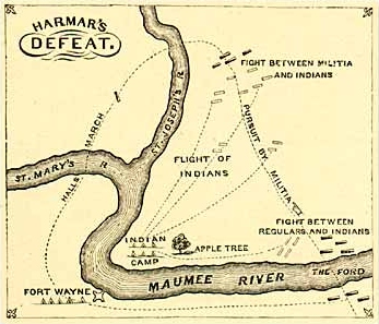 Map of Harmars Defeat Courtesy Ohio Historical Society