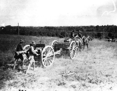 138th Field Artillery Regiment training at Ft. Knox with the French 75 MM Gun, this was prior to their overseas deployment for the First World War