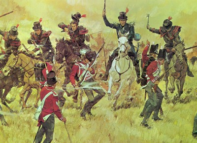 Remember the River Raisin National Guard Heritage Print by by Ken Riley. Moraviantown, Upper Canada -- October 5, 1813 Following Commodore Perry's success at Lake Erie, a U.S. force, commanded by Gen. William Henry Harrison, engaged British troops 75 miles east of Detroit. His command included a regiment of Kentucky Mounted Riflemen led by Col. Richard M. Johnson, made up of picked militia volunteers armed with long Kentucky rifles and tomahawks. The Kentucky troops scattered the enemy army.
