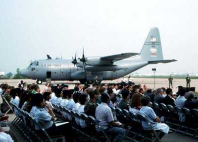 Image of C-130 during first day ceremony in Louisville KY
